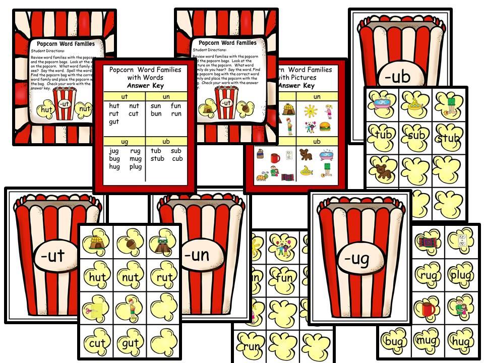 Word Families Short U - Popcorn Theme