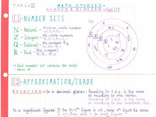 IB Maths Studies SL - Topic 1 - Number & Algebra - Notes