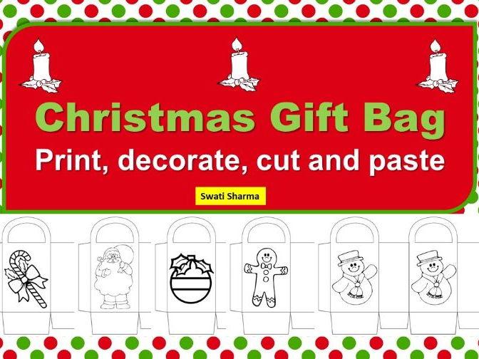Christmas Gift Bag Template Craft