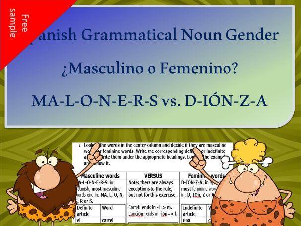 Spanish Grammatical NOUN Gender: ¿Masculino O Femenino?