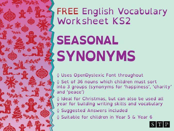 Christmas English Worksheet Dyslexic Learners Synonyms KS2 Vocabulary