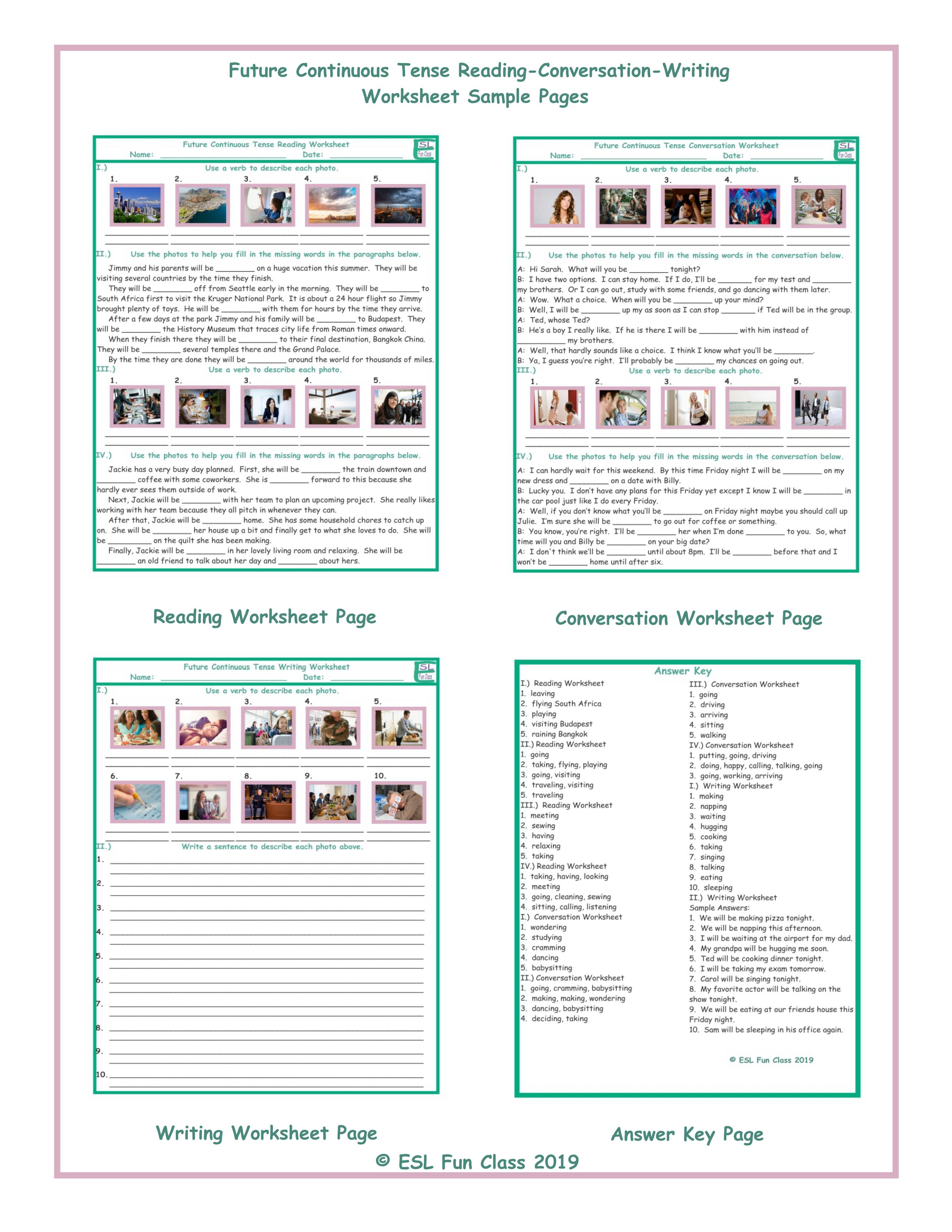 Future Continuous Tense Reading-Conversation-Writing Worksheets