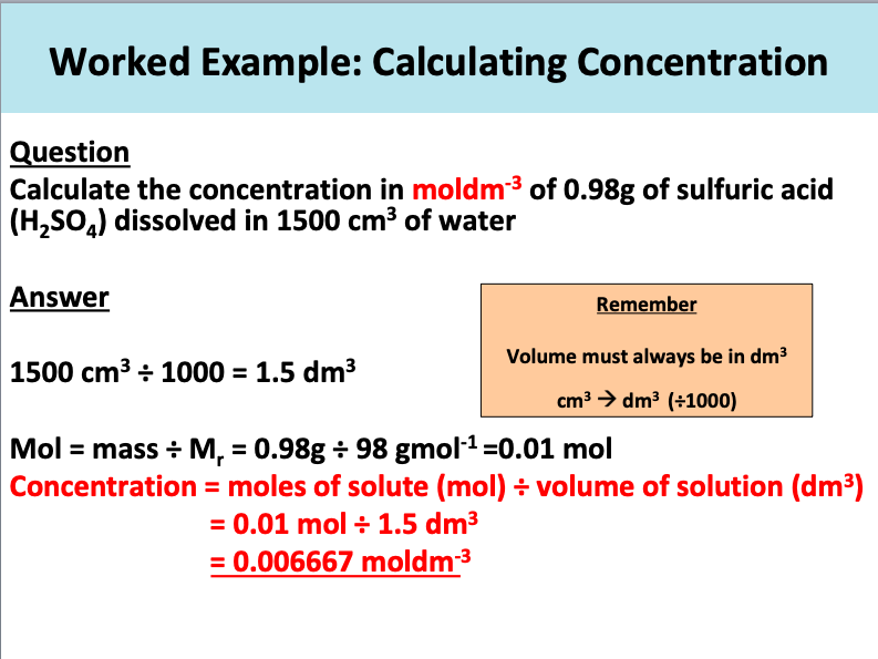 GCSE Chemistry: Concentration of Solutions