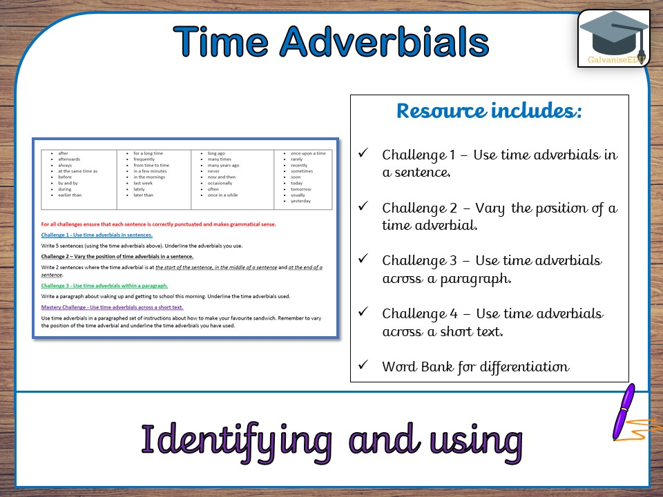 KS2 Time adverbials - GPS (Differentiated)