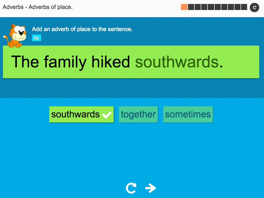 Adverbs of place - Interactive Activity - KS3 Spag