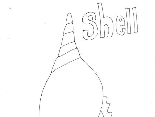 Seaside Shell Colouring Page