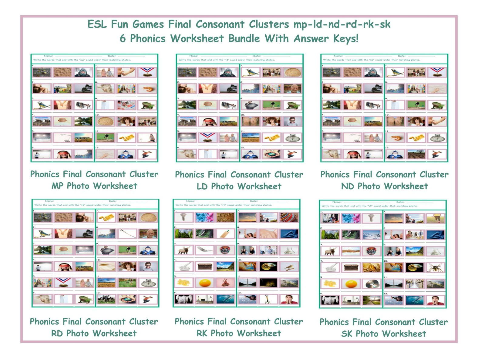 Worksheets Esl Phonics Worksheets final consonant clusters mp nd ld rd sk rk 6 worksheet bundle by eslfungames teaching resources tes