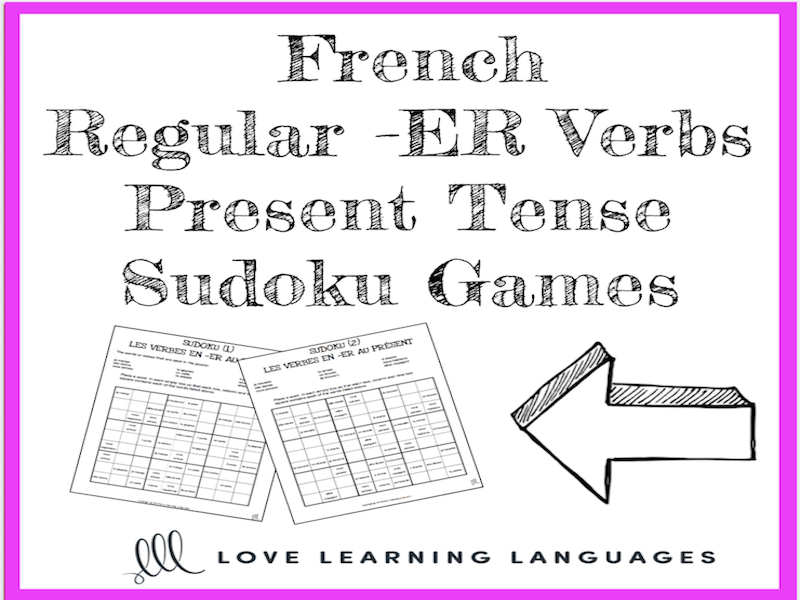 French regular -ER verbs present tense sudoku games