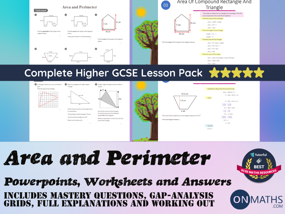 Area and Perimeter PowerPoints, Worksheets + Answers (Higher GCSE) Complete Pack