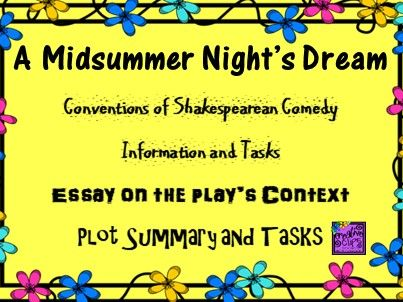 Midsummer Night's Dream Plot, Context and Conventions Worksheets