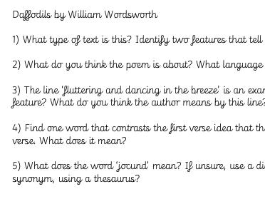 Daffodils by William Wordsworth Comprehension questions
