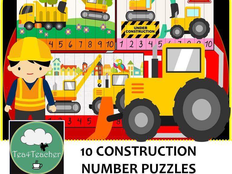 Construction Number Puzzles - 10 Preschool Kindy Construction Puzzles 1-10