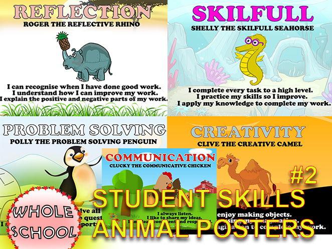 Primary Posters Visual displays Student SKILLS Animals #2