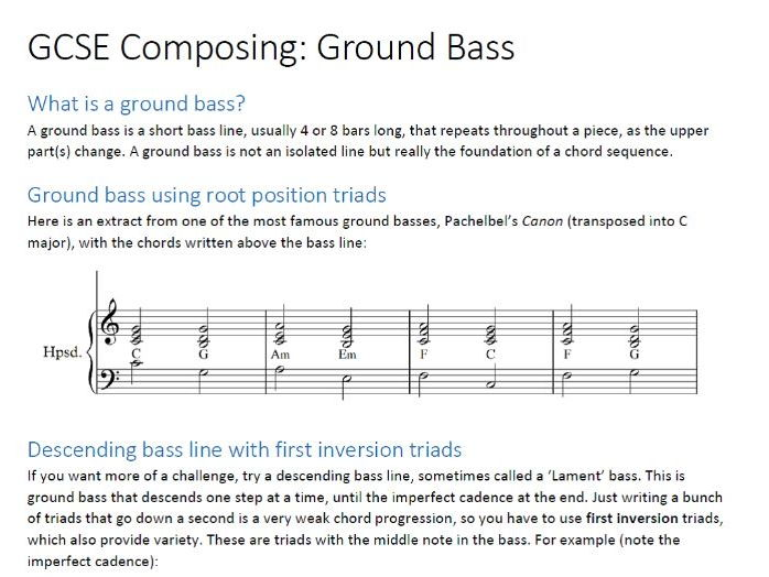 GCSE Music Composing - Ground Bass
