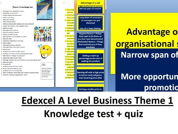 Edexcel A Level Business Theme 1 - Knowledge test + Quiz with answers