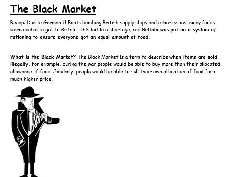 WW2 The Black Market: Work at home booklet
