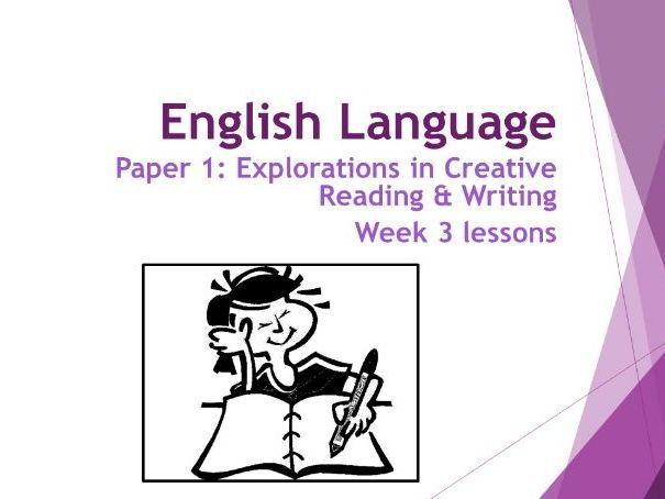 AQA Language Paper 1:  Week 3 Lessons - Qus 4&5