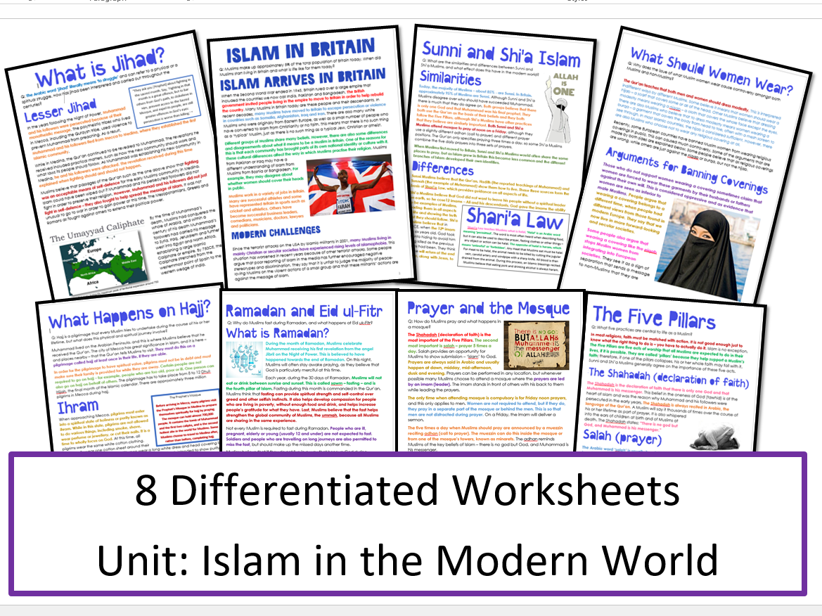Islam in the Modern World: Differentiated Activity Sheets for Whole Unit