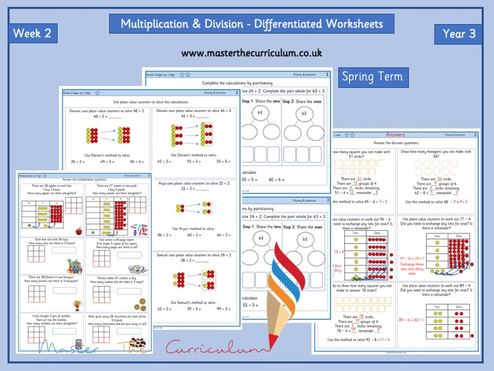 Year 3–Spring Block 2-Week 2 – Multiplication & Division Differentiated Worksheets -White Rose Style