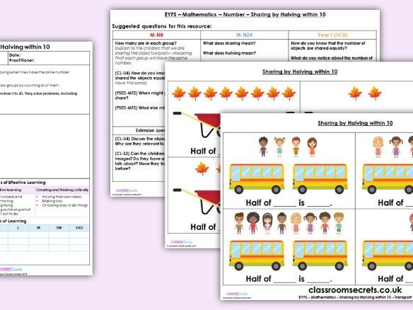 EYFS Maths Sharing by Halving within 10 Planning, Resources & Observation Pack
