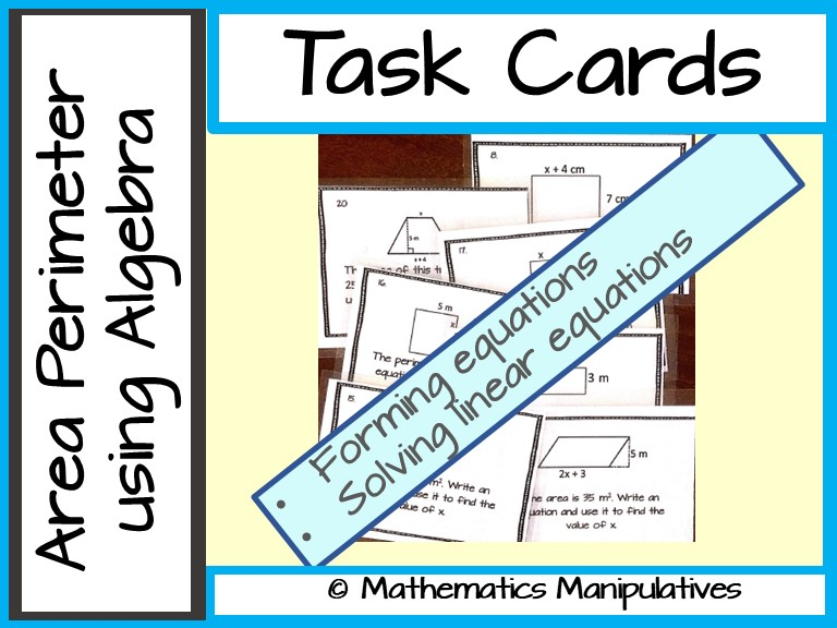 Task Cards Area Perimeter using Linear Equations