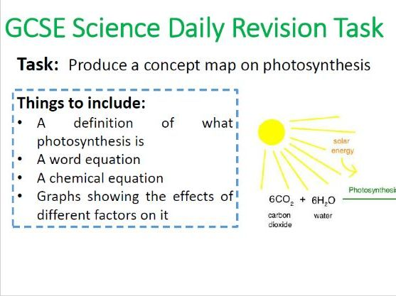 GCSE Science Revision Tasks
