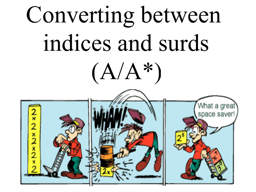 Converting between Indices and Surds including differentiation questions to change (A/A*) Lesson 3