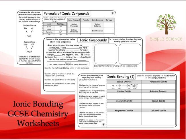 GCSE Chemistry - Ionic Bonding Worksheets