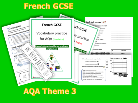 FRENCH GCSE- VOCABULARY PRACTICE FOR AQA THEME 3 (Foundation +Higher)