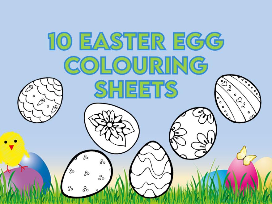 10 Easter Egg Colouring Sheets KS1 and EYFS