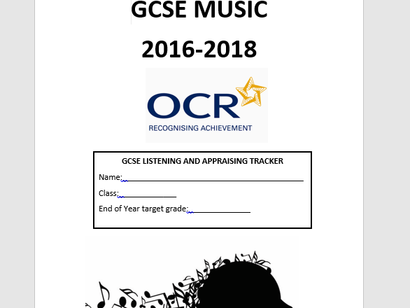 OCR Music GCSE (new spec) Listening and Appraising tracker