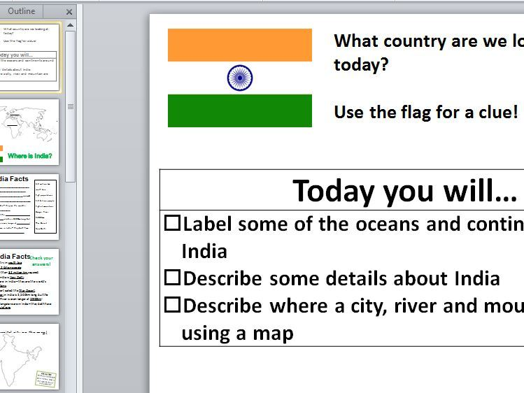 The Geography of India - Full lesson with worksheets