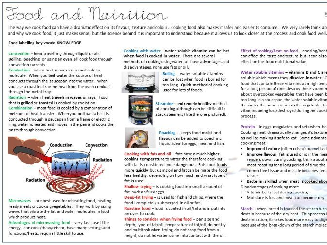 Food Preparation and Nutrition Knowledge Organiser Series