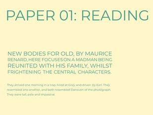 Home School: GCSE Language Paper 01: Reading Questions: New Bodies For Old