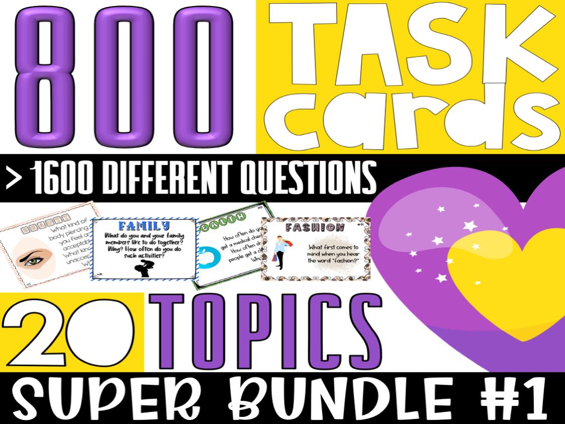 ESL/ELL/ELA Conversation Starter Task Cards | SUPER BUNDLE#1 | For Teens