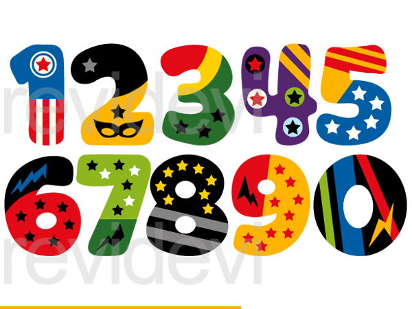 Superhero Numbers Clip Art Graphics