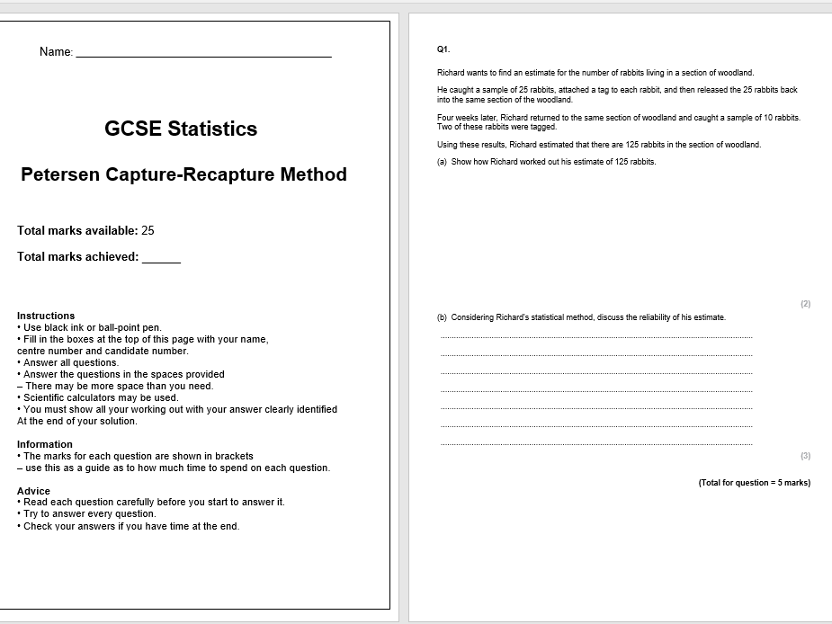 Capture-Recapture Exam Questions (GCSE Statistics)