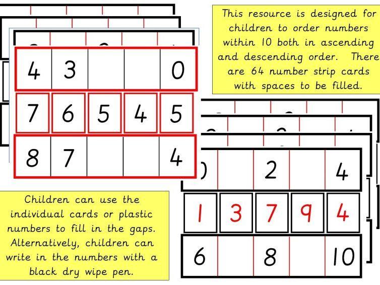 Horizontal Number Order to 10