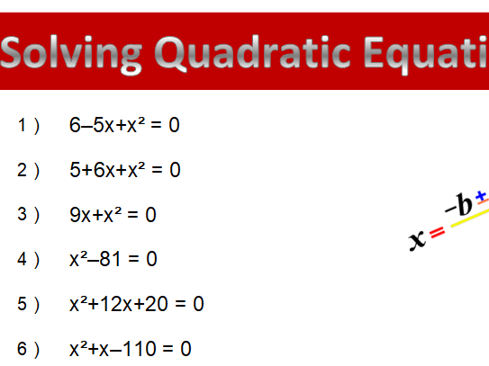 Solving Quadratic Equation Worksheets (using factoring)