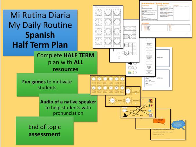 Mi Rutina Diaria My Daily Routine Spanish Half Term Plan