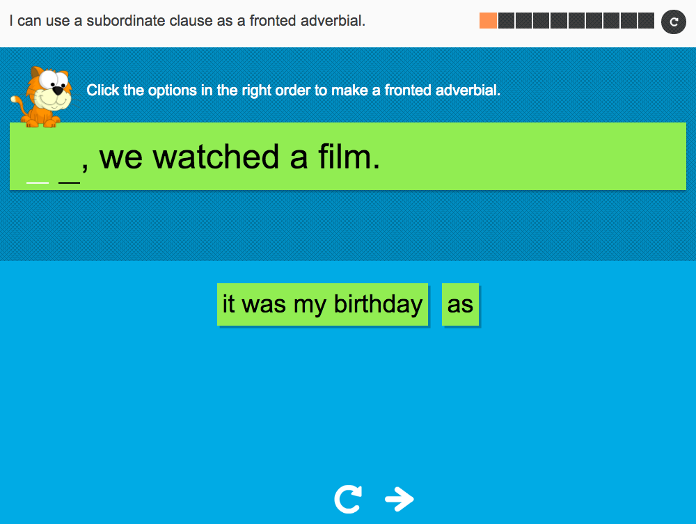 I can use a subordinate clause as a fronted adverbial - Interactive Activity - Year 4 Spag