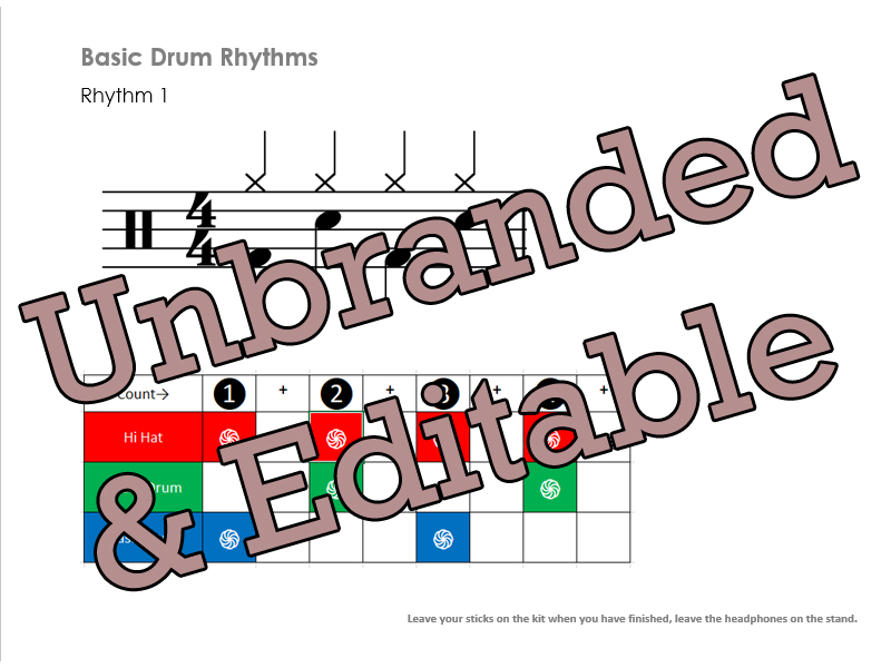 Basic Drum kit rhythms worksheet