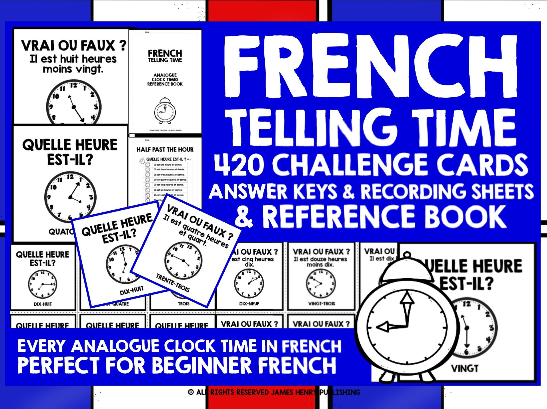 FRENCH TIME CHALLENGE CARDS & REFERENCE BOOK
