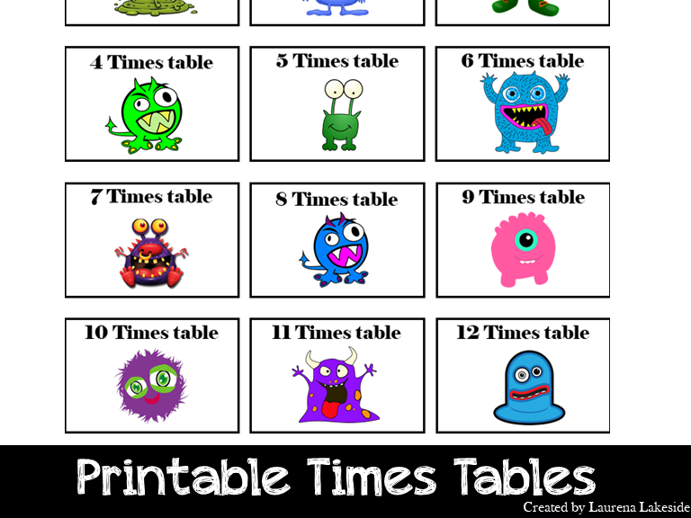 Times Tables: Monster Themed: Worksheets: Game Ideas: 1 to 12