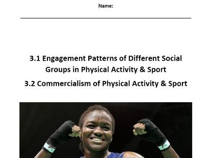 Edexcel New GCSE PE 9-1. Engagement Patterns of Social Groups & Commercialism - Pupil Workbook