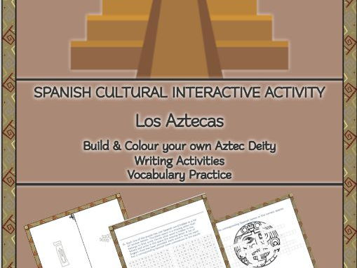 Spanish Cultural & Writing Activities:Build & Colour your own AZTECA Deity