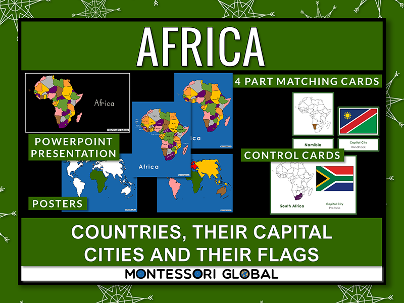 African Countries   Flags   Capital Cities -PowerPoint + Montessori 3 Part Cards