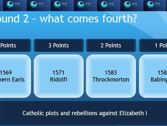 Eduqas GCSE History 'The Elizabethan Age, 1558-1603' only connect revision game