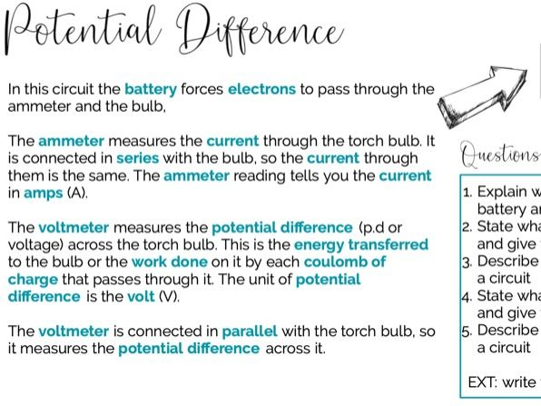Potential Difference and Resistance (inc RP Resistance of a Wire)