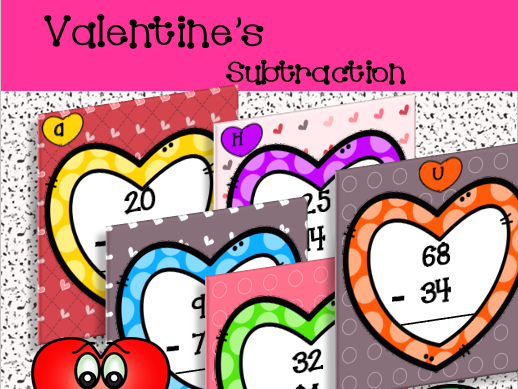 2 Digit Subtraction with regrouping Task Cards - Valentine's Day Themed